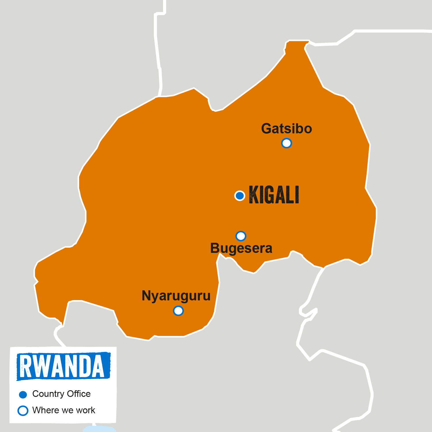 Map of Rwanda featuring location of our Country Office and where we work.